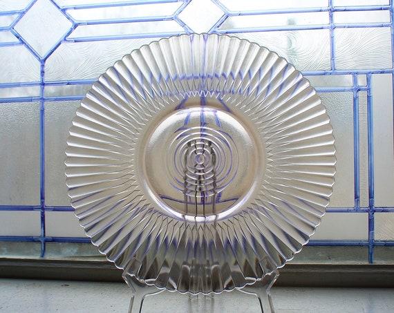 Pink Depression Glass Petalware Cake Plate Platter Salver Vintage 1930s