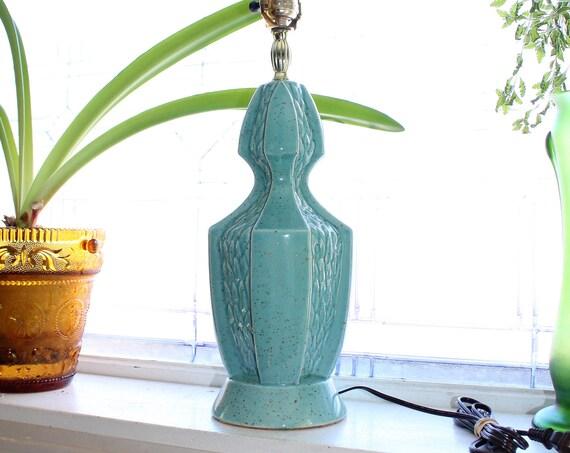 Vintage Mid Century Table Lamp 1950s Turquoise