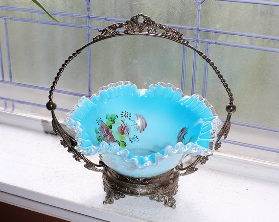 Victorian Bride's Basket Silverplate Stand & Hand Painted Blue Cased Glass Bowl 1800s