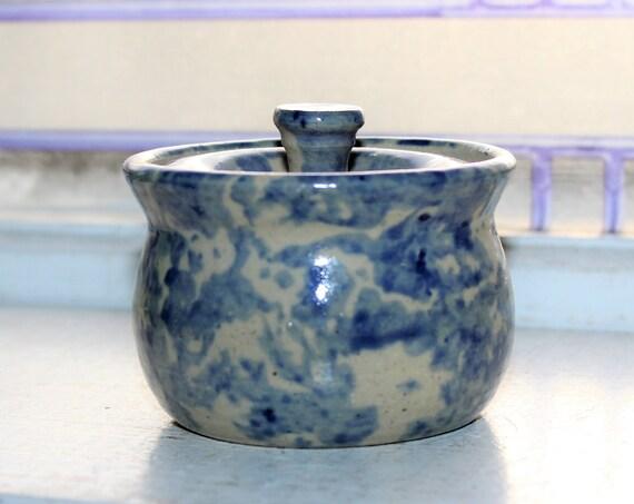 Covered Jam Jar Blue Spongeware Stoneware from Wild Flower Herb Farm
