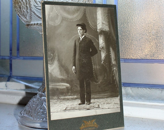 1800s Cabinet Card Photograph Handsome Edwardian Man Antique Photo