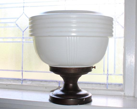 Schoolhouse Ceiling Light Fixture Large Milk Glass Shade Mid Century