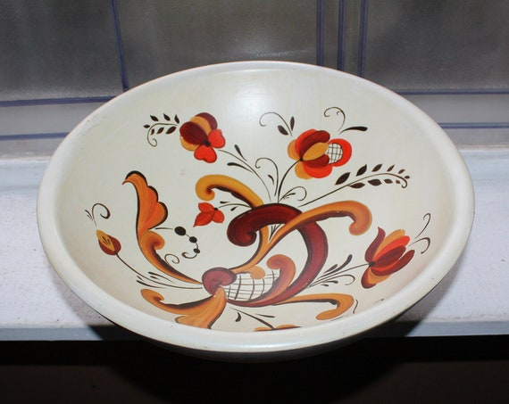 Vintage Norwegian Rosemaling Footed Wood Bowl Scandinavian Folk Art