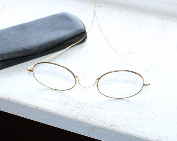 Antique Eyeglasses Gold Colored Frames with Case
