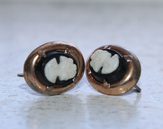 Antique Victorian Cameo Earrings Gold Washed Sterling Silver