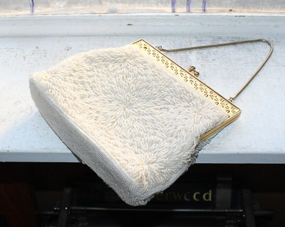 Vintage Beaded Purse Handbag White and Gold