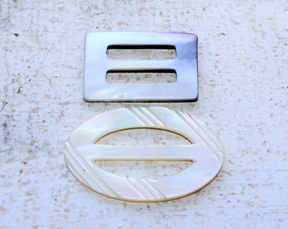 2 Vintage Shell Buckles Mother of Pearl