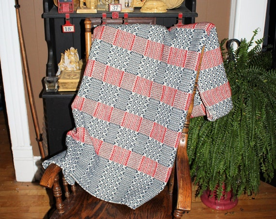 Antique Coverlet Red White and Blue Reversible 1800s Jacquard Weave