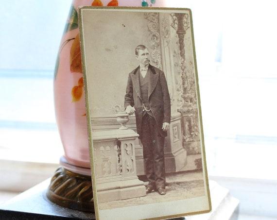 Antique Carte De Visite Photograph Victorian Man with Mustache 1800s
