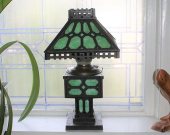 Antique Bradley & Hubbard Slag Glass and Cast Iron Lamp Mission Style