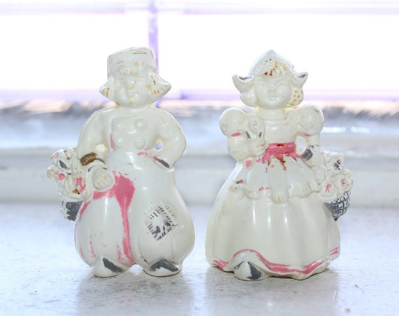 Vintage Salt and Pepper Shakers Celluloid Dutch Boy and Girl 1920s