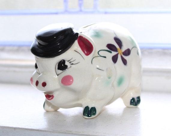 Vintage Pig with Hat Piggy Bank Ceramic