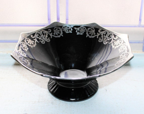 Large Vintage Art Deco Black Glass Bowl with Silver Overlay Decoration