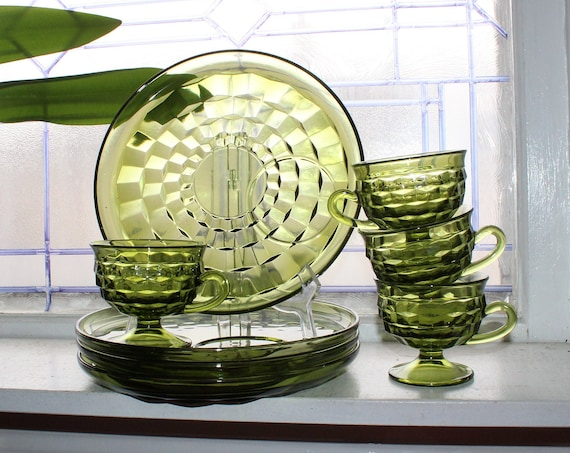 4 Place Setting Green Glass Cubist Luncheon Plates and Cups