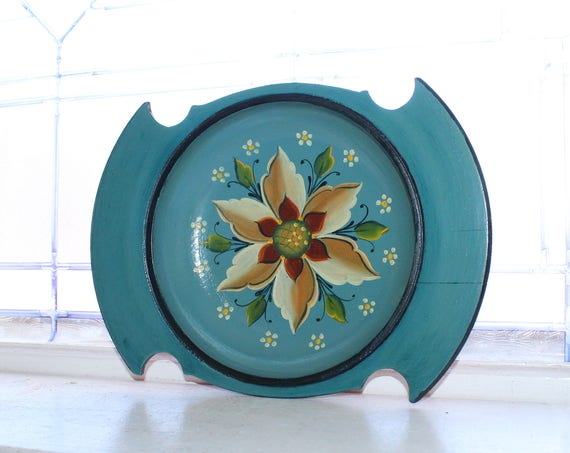 Vintage Norwegian Rosemaling Wood Bowl Scandinavian Folk Art