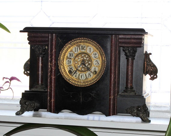 Antique Gilbert Mantel Clock with Paw Feet Victorian Decor