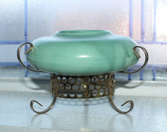 Mid Century Sage Green Vase Bowl with Gold Tone Tripod Stand