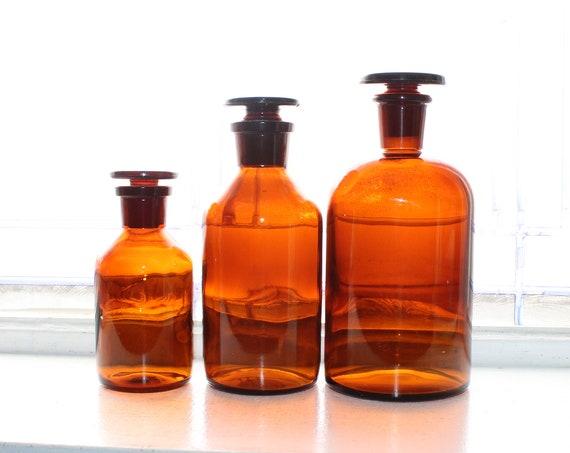 3 Vintage Medicine Botttles Brown Glass & Stoppers Bathroom Decor