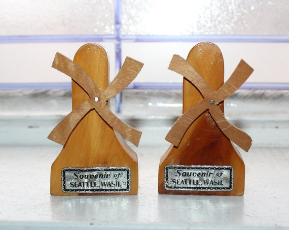 Vintage Salt and Pepper Shakers 1950s Wood Windmills Seattle
