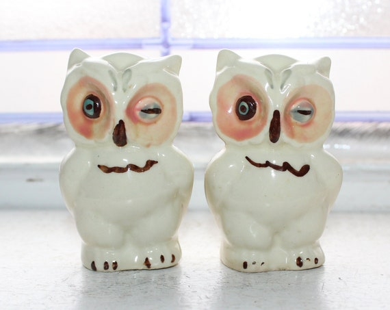 Vintage Salt and Pepper Shakers Shawnee Pottery Owls
