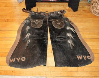 Antique Leather Bat Wing Chaps Wyoming Cowboy Western Decor