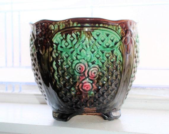 Large Art Nouveau Footed Jardiniere Antique Weller Pottery