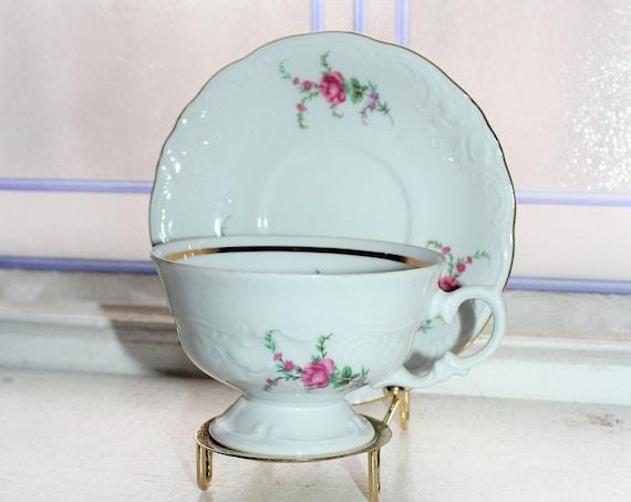 Royal Kent Teacup and Saucer Pink Roses Vintage Bone China