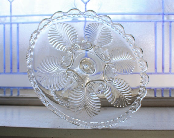 Antique EAPG Glass Cake Stand Missouri Palm and Scroll Circa 1890s