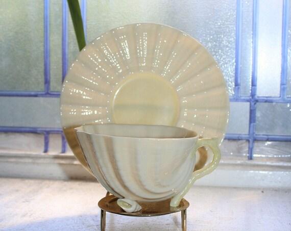 Vintage Irish Belleek Neptune Cup and Saucer
