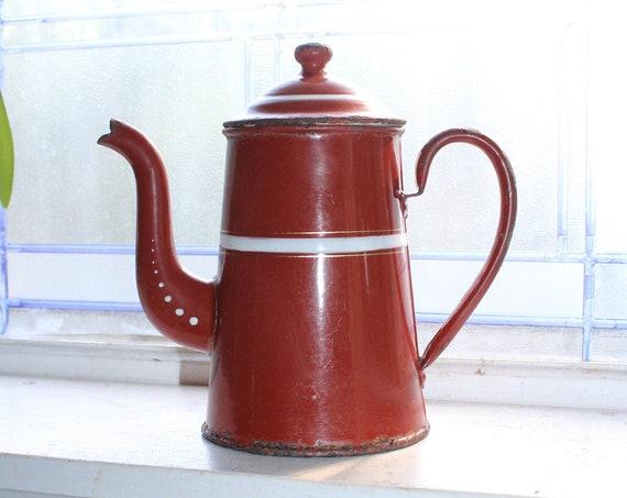 Antique Enamelware Goose Neck Coffee Pot