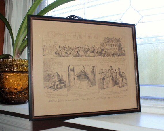 Antique Etching George Cruikshank Odds & Ends In Out and About The Great Exhibition of 1851
