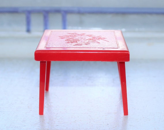 Dollhouse Furniture Renwal Red Card Table Vintage 1960s