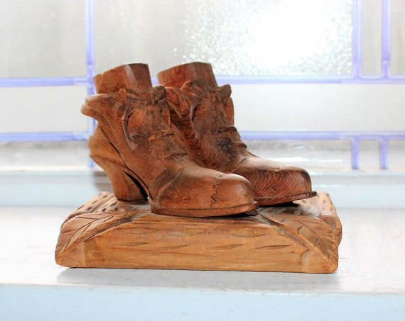 Antique Folk Art Carved Wood Victorian Shoes Circa Late 1800s
