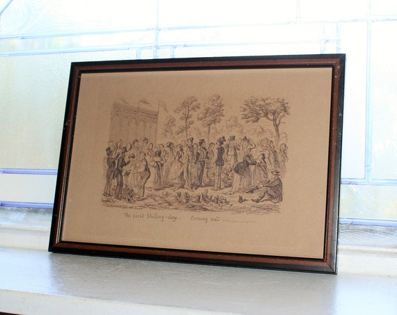 Antique Etching George Cruikshank First Shilling Day Coming Out The Great Exhibition of 1851