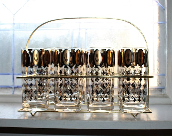 8 Mid Century Glass Tumblers & Caddy Black and Gold Mad Men Decor