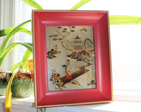 Mid Century Asian Wall Sconce Electric Oriental Scene Vintage 1950s