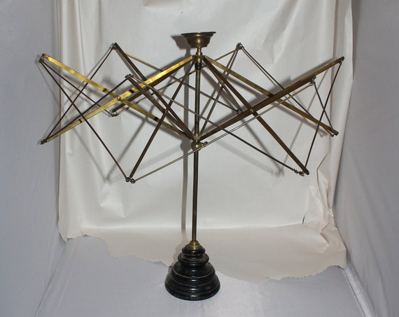 Antique Victorian Yarn Swift Brass and Wood Umbrella Wool Winder