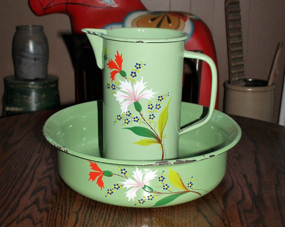 Antique Pitcher & Bowl Green Enamelware with Flower Decoration