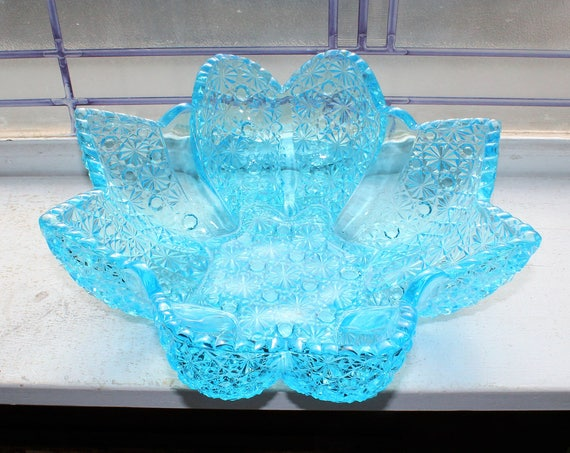 Vintage Fenton Blue Glass Star Bowl Paneled Daisy and Button