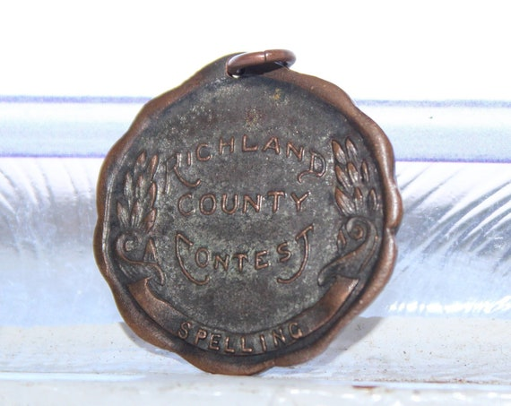 Vintage 1937 Spelling Bee Medal Richland County North Dakota