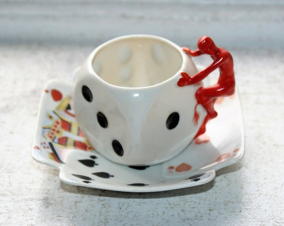 Antique Royal Bayreuth Demitasse Cup & Saucer Devil Dice Playing Cards