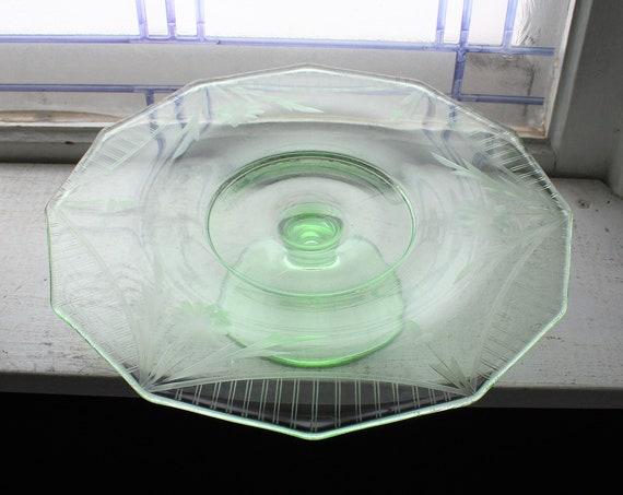 Vintage Art Deco Pedestal Cake Stand Green Depression Glass Wheel Cut