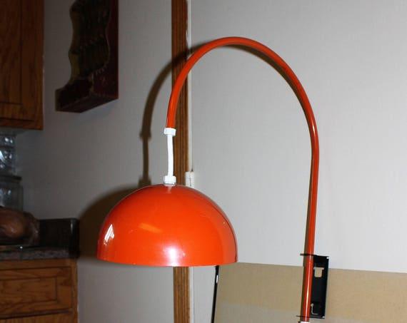 Retro 70s Orange Gooseneck Wall Light Vintage Lamp