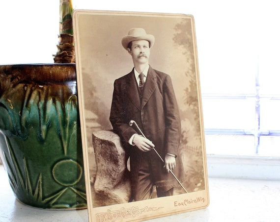 Antique Photograph Edwardian Man with Hat and Cane 1800s Cabinet Card