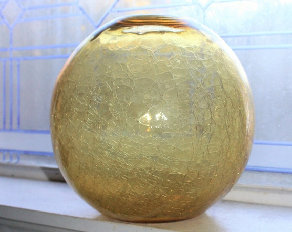 "Large Amber Blenko Crackle Glass Globe Vase 10"" with Original Sticker"