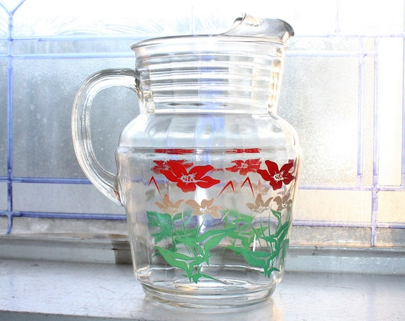 Vintage Glass Pitcher Red Green White Flowers Mid Century Decor
