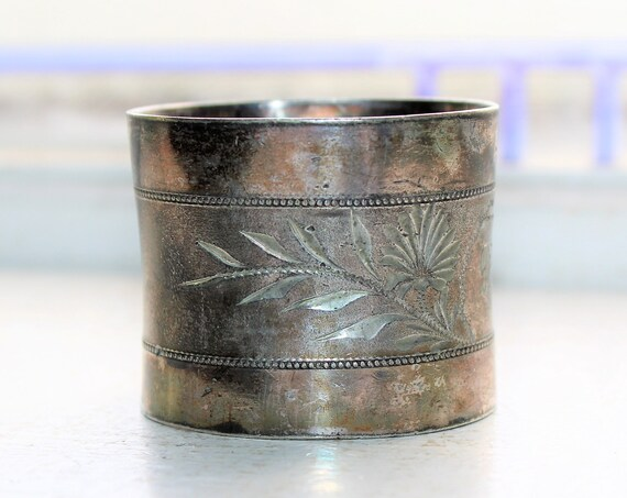 Antique Victorian Napkin Ring Etched Silverplate