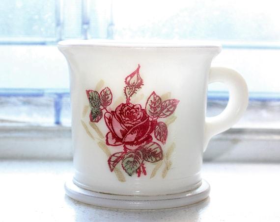 Vintage Shaving Mug Milk Glass with Red Roses