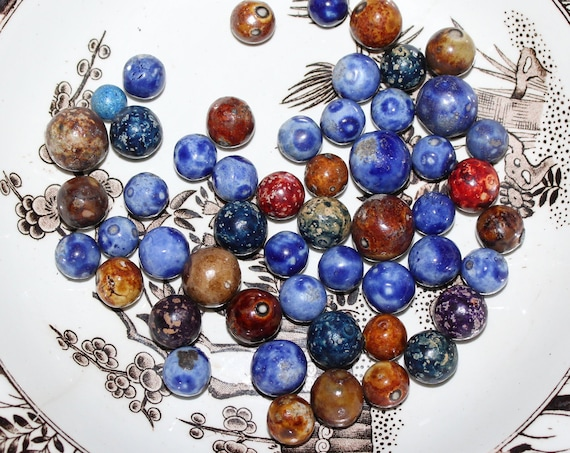 52 Antique Bennington Pottery Marbles Brown and Blue Circa Late 1800s
