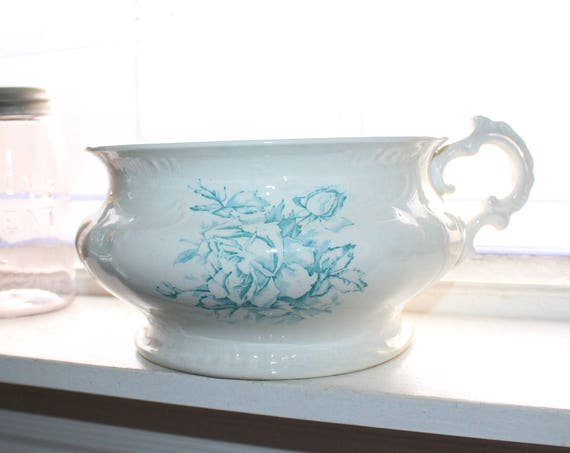 Antique Victorian Chamber Pot White with Blue Roses Transferware 1800s